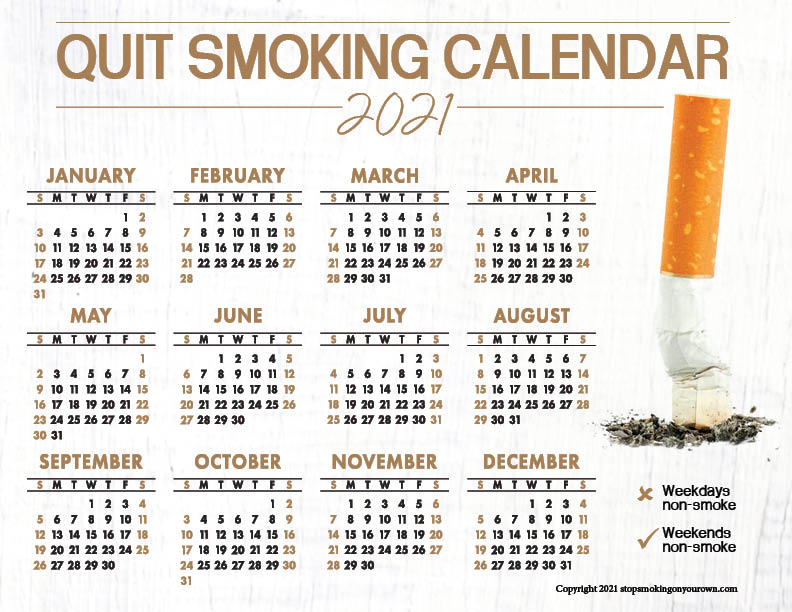 Printable Quit Smoking Calendar