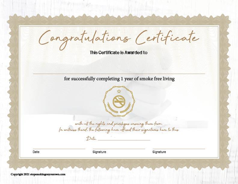 Printable Quit Smoking Certificate